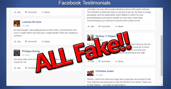 GPS Trader Fake Testimonials