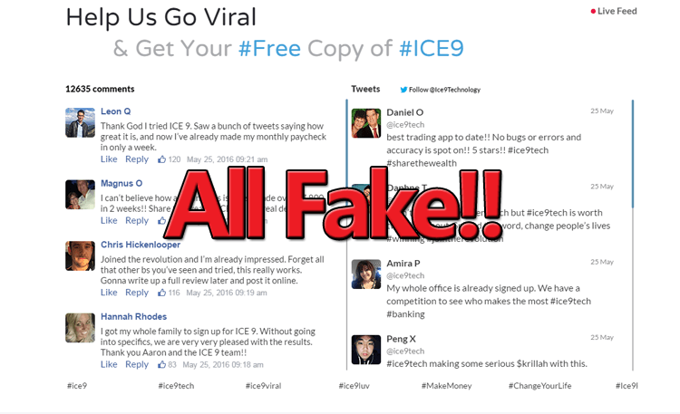 Ice9 Fake Social Profiles